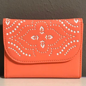 Laser-cut Petite Trifold Wallet in Coral